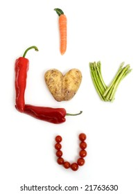I LUV YOU spelled with vegetable lettering