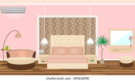 Luxe hotel room interior with air conditioning, lights equipment, furniture. Illustration in flat style
