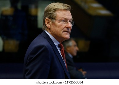 Luxembourg, Luxembourg. 1st Oct. 2018. Belgian Finance Minister Johan Van Overtveldt arrives to attend in Eurogroup finance ministers meeting at the EU headquarters.