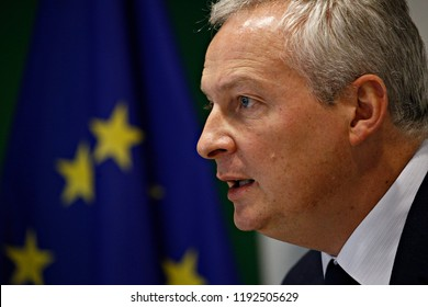 Luxembourg, Luxembourg. 1st Oct. 2018. French Economy, Finance Trade Minister Bruno Le Maire gives a press conference during an Eurogroup meeting at the EU headquarters.