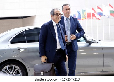 Luxembourg, Luxembourg. 1st Oct. 2018. Italian Minister of Economy and Finance Giovanni Tria attends in Eurogroup finance ministers meeting at the EU headquarters