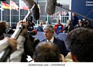 Luxembourg, Luxembourg. 1st Oct. 2018. President of Eurogroup Mario Centeno arrives to attend in Eurogroup finance ministers meeting at the EU headquarters
