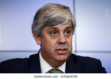 Luxembourg, Luxembourg. 1st Oct. 2018.President of Eurogroup Mario Centeno  gives a press conference at the results of Eurogroup finance ministers meeting at the European Council.
