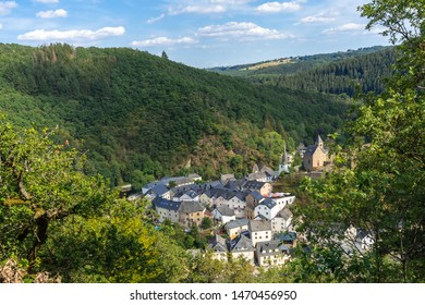 Luxembourg. Aerial view of Esch-sur-Sure medieval town in Luxembourg  famous for its ancient  Castle. Forests of Upper-Sure Nature Park, meander of river Sauer, near Upper Sauer Lake. Canton Wiltz.
