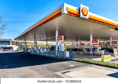 Luxembourg - April 10, 2016: Shell gas station on the border of Luxembourg and France. The cheapest fuel in Central Europe. Shell is an Anglo-Dutch multinational oil and gas company