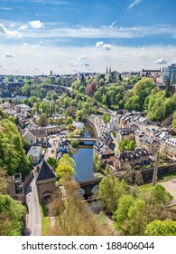 LUXEMBOURG, LUXEMBOURG - APRIL 21, 2014: The residential quarter Pfaffenthal  in Luxembourg with the river Alzette in the middle