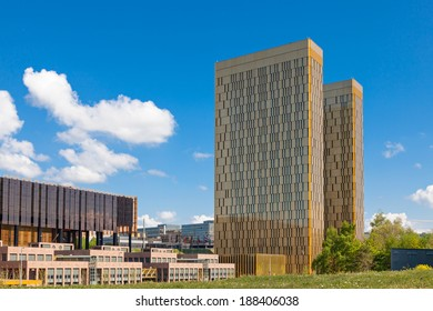 LUXEMBOURG, LUXEMBOURG - APRIL 21, 2014: The two towers of the European Court of Justice on Kirchberg in Luxembourg
