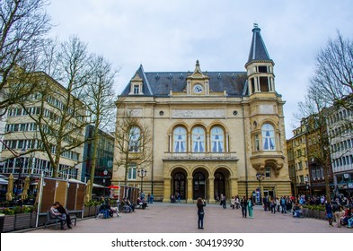 LUXEMBOURG, LUXEMBOURG, APRIL 6, 2014: View over place du theatre in luxembourg.
