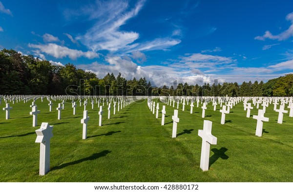 LUXEMBOURG - AUG 8, 2014 -Many tourists visit the Luxembourg American Cemetery which was dedicated in 1960