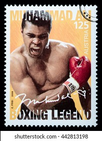 LUXEMBOURG - CIRCA 2015: A postage stamp printed in Vienna Austria showing Muhammad Ali, circa 2006