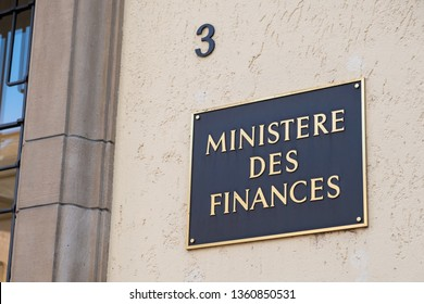 Luxembourg City / Luxembourg - 03 29 2019: Ministry of Finance sign in French on the building on the Luxembourgish Ministry of Finance.
