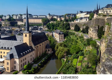 Luxembourg City. Luxembourg. 06.05.18. Ville de Luxembourg. The walls of the old town viewed from the Grund area of the city. Grand Dutchy of Luxembourg.