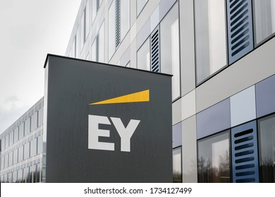 Luxembourg City / Luxembourg - 07 12 2019: EY logo and sign. Ernst & Young Global Limited is a multinational professional services firm headquartered in London, England.