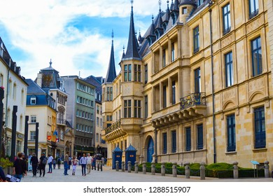 Luxembourg City, Luxembourg; 08/11/2018: Facade of Grand Ducal Palace in Luxembourg City, Luxembourg