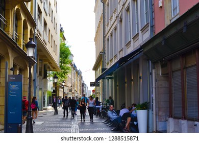 Luxembourg City, Luxembourg; 08/11/2018: Quiet street in the center of Luxembourg City (old town), Luxembourg, with people walking and relaxing