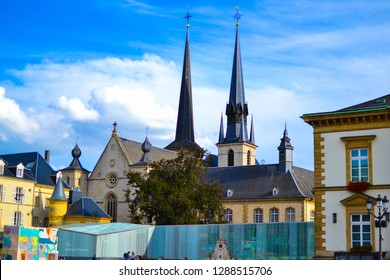 Luxembourg City, Luxembourg; 08/11/2018: View of the Notre-Dame Cathedral (Cathedral of Our Lady, Kathedral Notre-Dame or Cathédrale Notre-Dame) from the Place Guillaume II in Luxembourg City, Luxembo