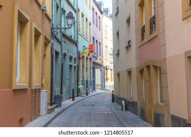 LUXEMBOURG CITY, LUXEMBOURG - 12TH OCTOBER 2018: Colourful facades along Rue du Nord street in Luxembourg