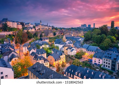 Luxembourg City, Luxembourg. Aerial cityscape image of old town Luxembourg City skyline during beautiful sunrise.