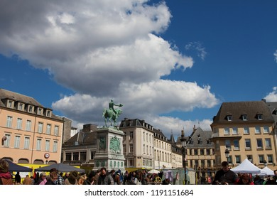 LUXEMBOURG CITY, LUXEMBOURG - APRIL 2015: panoramic view of the equestrian statue of the main square of Luxembourg city.
