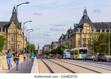 Luxembourg City, Luxembourg: August 11, 2018 - The view from the Pont Adolphe bridge, down Avenue de la Liberte, towards Place de la Gare central train station