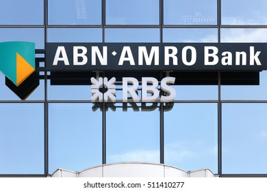 Luxembourg city, Luxembourg - August 12, 2016: ABN AMRO Bank is a Dutch state-owned bank with headquarters in Amsterdam. ABN AMRO Bank is the third-largest bank in the Netherlands