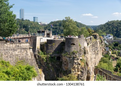 Luxembourg city, Luxembourg - August 18, 2018: Luxembourg city, the capital of Grand Duchy of Luxembourg with entrance of old medieval Casemates du Bock