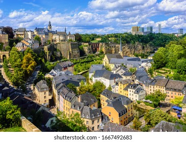 Luxembourg city, the capital of Grand Duchy of Luxembourg, view of the Old Town and Grund quarter on a sunny summer day
