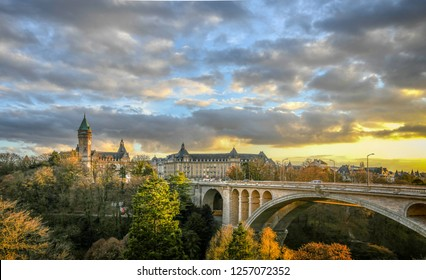 Luxembourg City centre. Adolphe Bridge. The picture was taken in November December 2018.  Sunset light lighting best Luxemburgish turist attractions.