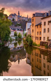 Luxembourg City, Luxembourg. Cityscape image of old town Luxembourg skyline during beautiful summer sunset.