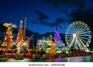 LUXEMBOURG CITY, LUXEMBOURG, DECEMBER 22, 2018: Christmas market (Luxembourgh Winterlights Xmas market) of Luxembourg.