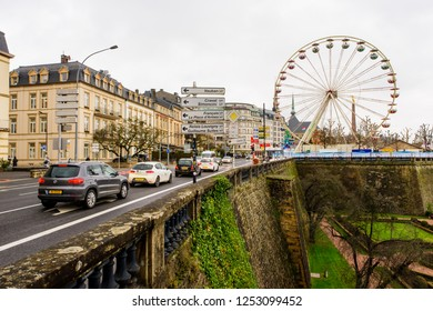 Luxembourg City, Luxembourg - December 6, 2018: View east along Boulevard Franklin Dylano Roosevelt towards Place de la Constitution