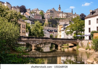 Luxembourg City, downtown city part Grund, scenic view with a bridge across the Alzette river