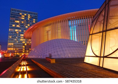 LUXEMBOURG CITY, LUXEMBOURG - FEBRUARY 15, 2017: The philharmonic hall in Luxembourg City, created by architect Christian de Portzamparc. The spectacular design attracts visitors from all of the world