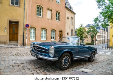Luxembourg City, Luxembourg - July, 13, 2015 : luxury car mercedes benz park on street in old town of luxembourg, Luxembourg City on July, 13, 2015