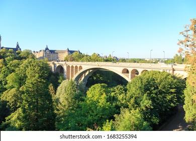 Luxembourg city, Luxembourg - July 4, 2019: Adolf Bridge