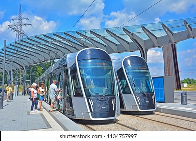 LUXEMBOURG CITY, LUXEMBOURG - JULY 7, 2018 - Modern CAF Urbos3 tram standing at the Luxepo state-of-the-art terminus on the brand new Luxembourg tram line in the European district (Kirchberg)