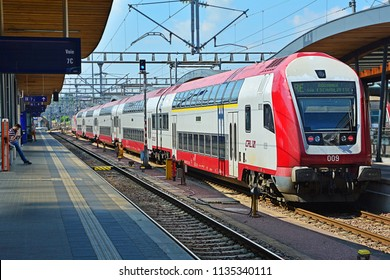 LUXEMBOURG CITY, LUXEMBOURG - JULY 7, 2018 - CFL Dosto double-deck electric train, produced by Bombardier, for Luxembourg Railways (CFL) at Luxembourg Central railway station