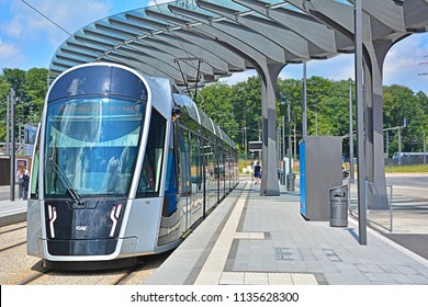 LUXEMBOURG CITY, LUXEMBOURG - JULY 7, 2018 - Modern CAF Urbos3 tram in the catenary-free mode on the brand new Luxembourg tram line in the European district (Kirchberg)