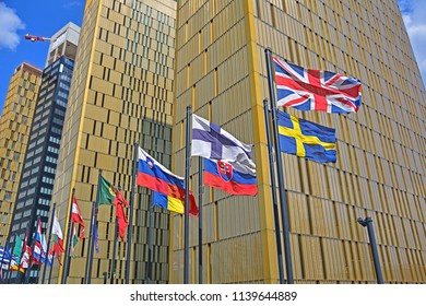 LUXEMBOURG CITY, LUXEMBOURG - JULY 7, 2018 - Flags of the European Union countries in front of the Court of Justice of the European Union