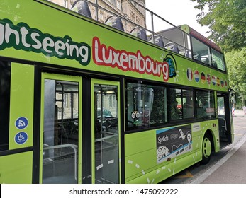 Luxembourg city, Luxembourg - June 8, 2019: A great offer to get to know the city intensively with the popular hop-on hop-off tours for sightseeing in Luxzembourg.