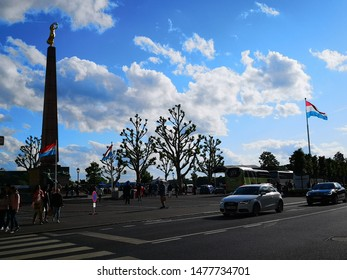 Luxembourg city, Luxembourg - June 8, 2019: The Gëlle Fra is situated in Constitution Square, in the Ville Haute quarter of central Luxembourg City, is a war memorial in Luxembourg City