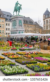 LUXEMBOURG CITY, LUXEMBOURG - MARCH 23: Flower market in centre of city on March 23, 2013 in Luxembourg