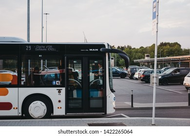 Luxembourg City, Luxembourg - May 18, 2019: Side view bus in Luxembourg City. The city has a network of 31 bus routes, operated by the municipal transport authority.