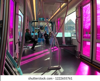 Luxembourg City, Luxembourg - November 3, 2018: inside a tram