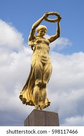 Luxembourg City, Luxembourg - October 14, 2016: The Golden Lady, sculpture atop of the Monument of Remembrance in Luxembourg City, Luxembourg.