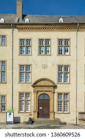 Luxembourg City, Luxembourg - October 8, 2018 - Entrance portal to the National Library of Luxembourg - Luxembourg City