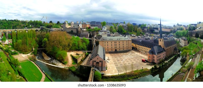 Luxembourg City, Old Town / Luxembourg - May, 2018: The Old City of Luxembourg is located in 963 at the confluence of the Alzette and Pétrusse Rivers.