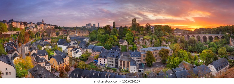 Luxembourg City, Luxembourg. Panoramic cityscape image of old town Luxembourg City skyline during beautiful sunrise.