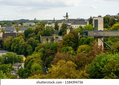 Luxembourg City, Luxembourg - September 15, 2018: The view from Grand Duchess Charlotte Bridge across the Pfaffenthal valley to the Pfaffenthal Lift and the old city