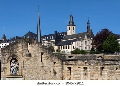 Luxembourg City - Ville de Luxembourg. Part of the walls of the old town viewed from the Grund area of the city.